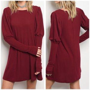 ❤️Beautiful Burgundy dress long sleeve❤️